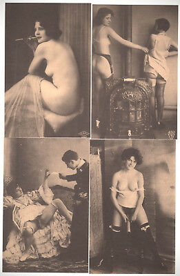 4 x VINTAGE FRENCH POSTCARD - Antique - Nude - Erotic - Female - Women - Sexy