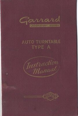 Garrard Laboratory Series Auto Turntable Type A Instruction Manual