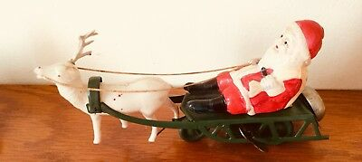 Vintage Wind Up  1950s  Japan Tin Plate Father Christmas Sleigh Decoration