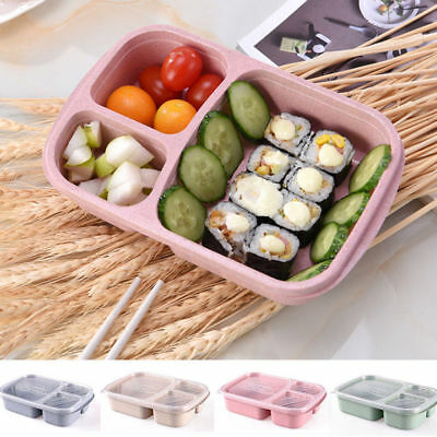 Wheat Non-pollution Microwave Bento Lunch Box Picnic Food Container Storage Box.