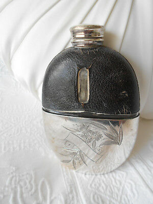 Antique Silver Plated James Dixon Sons Leather & Glass Hip Flask, Epbm Sheffield