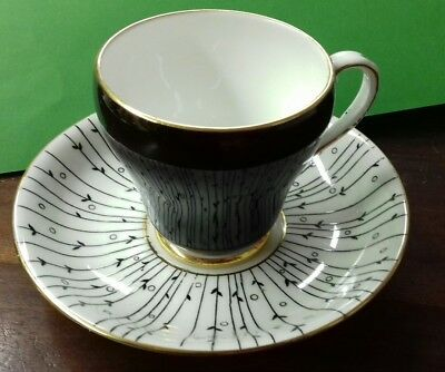 Vintage Royal Grafton Coffee Cup And Saucer Pampas Grass black & white 1950s