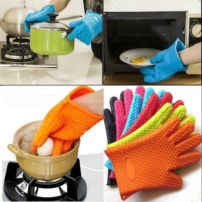 BBQ Cooking Mitts Heat Resistant Silicone Gloves Oven Pot Kitchen Potholder