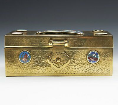 Antique/Vintage Chinese Cloisonne Mounted Brass Box Early 20Th C.