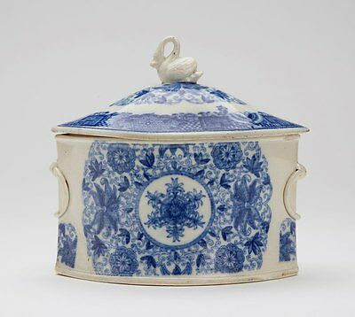 ENGLISH PEARLWARE SWAN FINIAL TOBACCO JAR c.1805