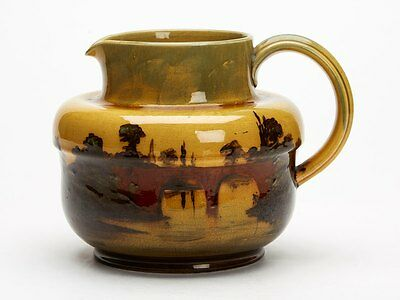 WARDLE ART POTTERY LANDSCAPE JUG SIGNED A EATON c.1898