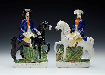 Antique Staffordshire Dick Turpin & Tom King Figures 19Th C