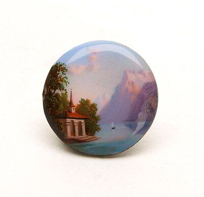 Antique Swiss Miniature Enamel Painted Landscape 19Th C.