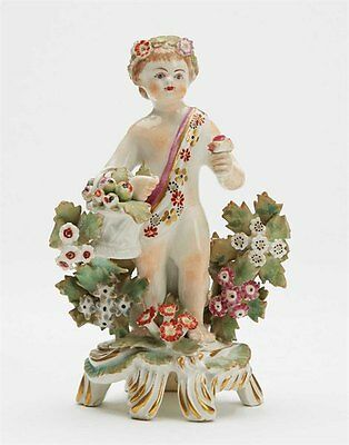 Bow Figure Of A Putti Holding A Basket Of Fruit C.1765