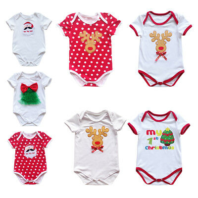 Christmas Newborn Baby Romper Bodysuit Outfit Costume Boy Girl One Piece Clothes