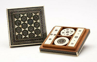Antique Anglo Indian Inlaid Games Box With Counters 19Th C.