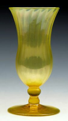 Antique John Walsh Yellow Uranium Glass Pedestal Vase Signed C.1900
