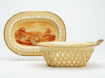 Antique Davenport? Drabware Basket & Stand Early 19Th C.