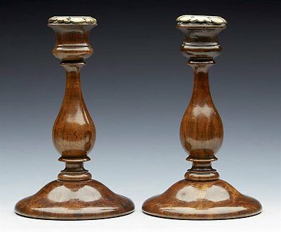 Antique Brass Mounted Turned Wood Pedestal Candlesticks 19Th C.