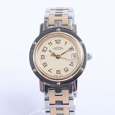 Authentic HERMES Stainless Steel Clipper cream dial Watches CL 4.220