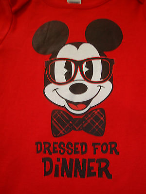 """DISNEY MICKEY MOUSE  long sleeve BODY SUIT  NWTS  """"DRESSED FOR DINNER""""."""