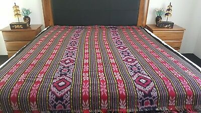 Vintage Look Traditional Indonesia Kain Ikat Bed cover/Blanket/Wall Hang Rustic