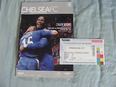 Chelsea V Birmingham City F.a.cup 4Th Rd 30/01/05 Prog/ticket