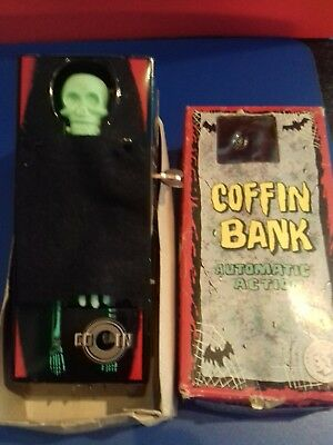 """Fully Working Vintage  """"coffin Bank"""" Wind Up Money Box Toy With Original Box"""