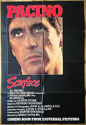 Scarface 1983 Original Advance US One Sheet Movie Poster Al Pacino Gangster Film