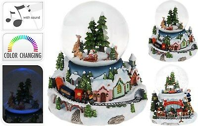 Large Musical Christmas Snow Globe Christmas Snowglobe & Train Music Snowstorm