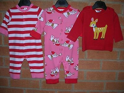 MINI BODEN Girls Red Pink Christmas Bundle Outfits Tops Rompers Age 0-3m
