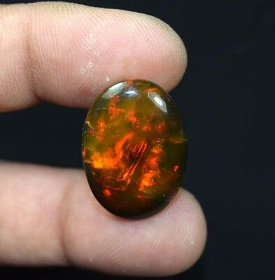 20.60 Cts. 100 % Natural Multi Fire Ethiopian Black Opal Oval Cab Loose Gemstone