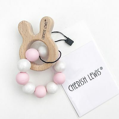 Custom Silicone Teether Baby Bunny Wooden Toy Shower Gift- Cherish Lewis