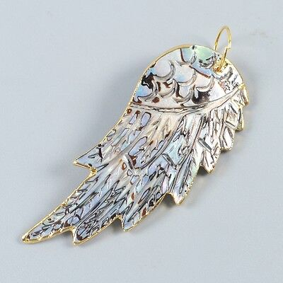Abalone Shell Carved Wing Pendant Bead Gold Plated T031325