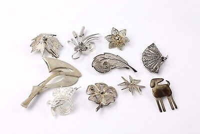 Collection of 10 x .925 STERLING SILVER Costume Brooches MIXED Designs - 69g