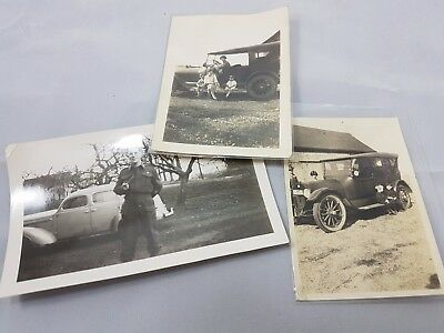 Lot of three Vintage Early Photographs Automobiles 1925 Signed on Back