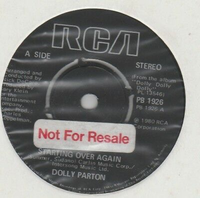 """Dolly Parton """"Starting Over Again/Sweet Agony"""" RCA 1980 7"""" Factory sample"""