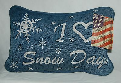 Manual Wookworkers Weavers TWSDAY Snow Days Small Blue Pillow