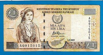Cyprus P60c One Pound CYPRIOT GIRL & KATO DRYS Sign A Afxentiou 1.2.2001 VF