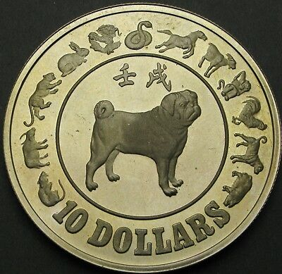SINGAPORE 10 Dollars 1982 Proof - Silver - Year of the Dog - 429 ¤