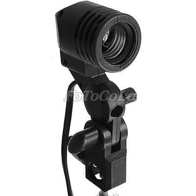Swivel studio photo E27 flash strobe bulb umbrella holder light stand adapter