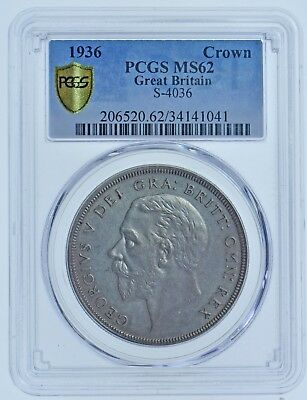 Very Rare 1936 Wreath Crown, Slabbed Ms62 Pcgs, British Silver Coin George V Unc