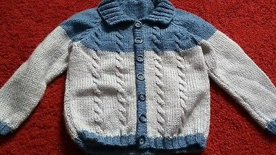 Vintage boys cardigan Age 4-5 Hand knitted 40s 50s 60s rockabilly style