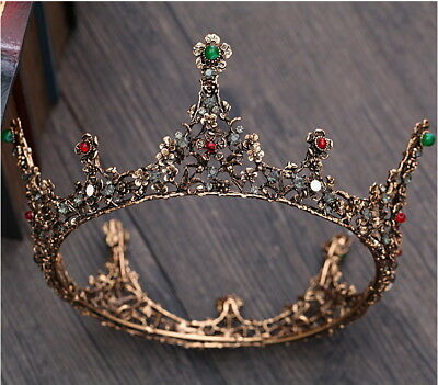 Luxury Antique Copper Black Queen Wedding Bridal Party Pageant Prom Crown 5.5""