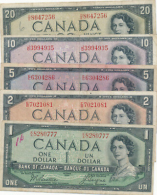 Bank of Canada 1 to 20 Dollars 1954 Devil's Face Lot Beattie-Coyne - Circ
