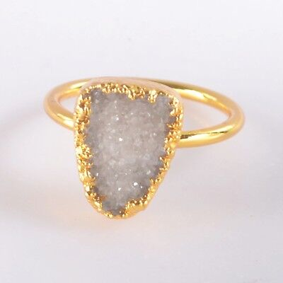 Size 6.5 Natural Agate Druzy Geode Ring Gold Plated B049400