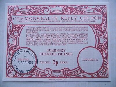 7p & 4p guernsey commonwealth Reply Coupon issued 1975 & 1971