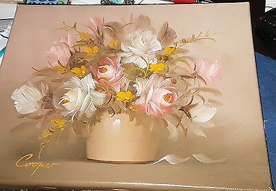 Original Oil Painting on Canvas~ Still-life~ Flowers Signed Cooper