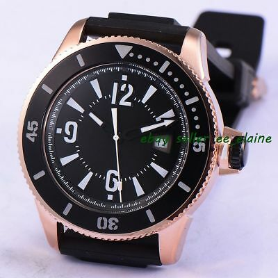 43mm Rose Gold PVD Case Mens Watches Sterile Dial Sub Style Rubber Straps 02
