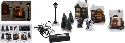 10 Piece Christmas Decoration Light Up Snow Covered Village Christmas Houses LED