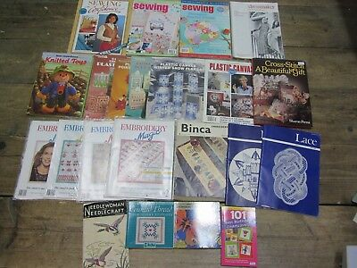 Job Lot Bundle Various Sewing, Embroidery, Knitting Needle Craft Books Vintage
