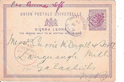 SIERRA LEONE : Postal Stationery card ex Freetown marked B31 posted in 1894.