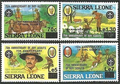 Sierra Leone Scouts 75th Baden Powell Cow overprint Girl Guides MNH ** (106)