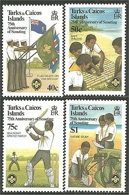 Turks Caicos Scouts 75th Anniversary Cricket Flags MNH ** (112)