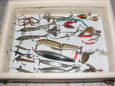 Vintage Collection Fishing Tackle Spinners Spoons Minnows Plugs Lures Cased X 23